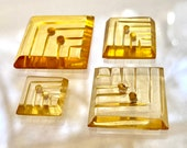 Family of Square Vintage Applejuice Bakelite. 4 Different Size Buttons Lot.