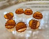 Set of Fancy Amber Bakelite Buttons. 2 Sizes.