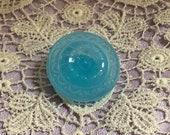 Exquisite Vintage Aqua Blue Glass Button. Per each or set of 6