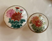 Vintage Japanese Satsuma Floral Button. Hand painted. Gold. 2 Sizes.