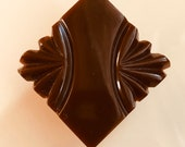 Vintage Bakelite Button. Carved. Square. Chocolate.