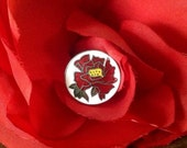Vintage Cloisonne Button. Japan. Red Rose.