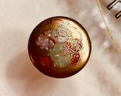 Vintage Satsuma Button.  Bishamonten. Hand painted.