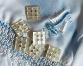 Darling Mother of Pearl set of 6 Buttons. Square. Carved. Vintage.