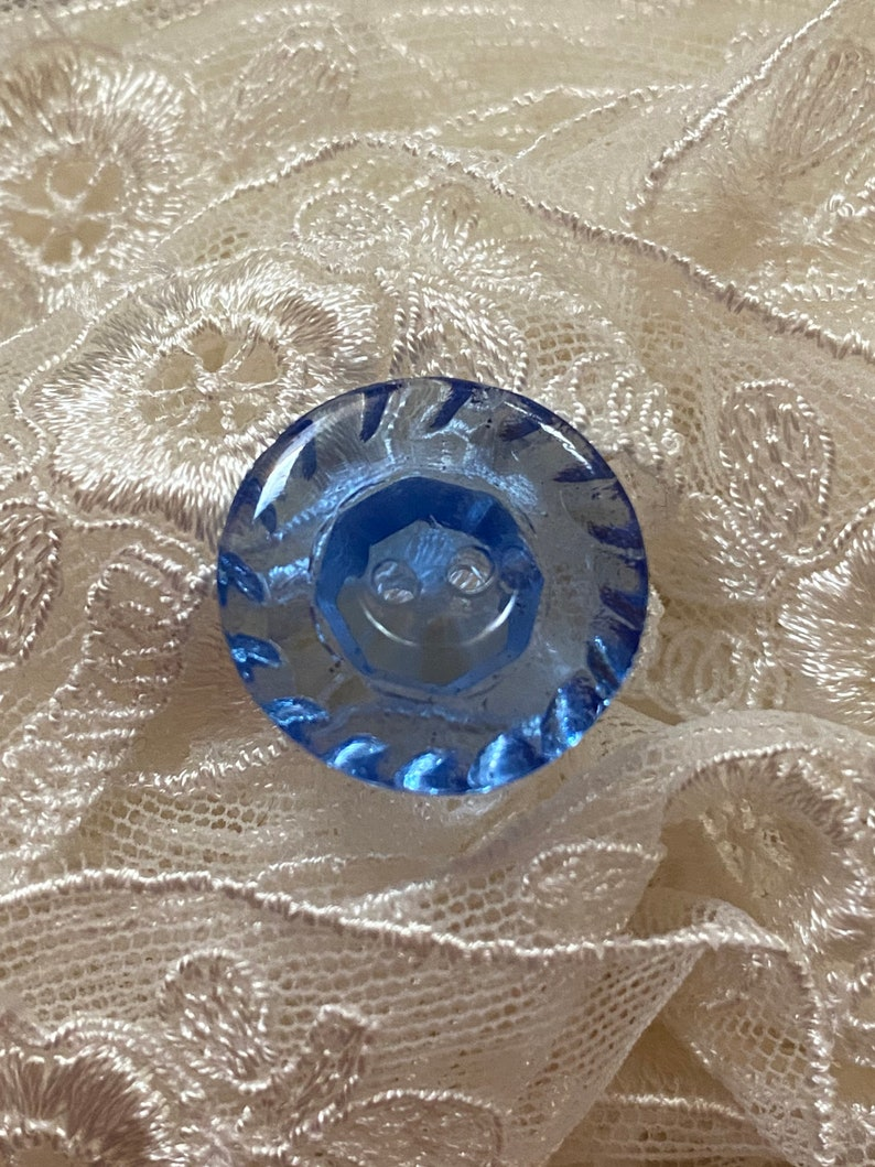 Vintage Transparent Azure Blue Glass Button. 2 Hole Sew image 0