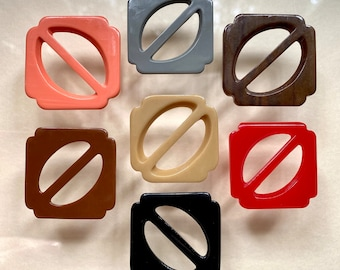 Bunch of 7 Small Vintage Plastic Buckles. Assorted Colours. Casein.