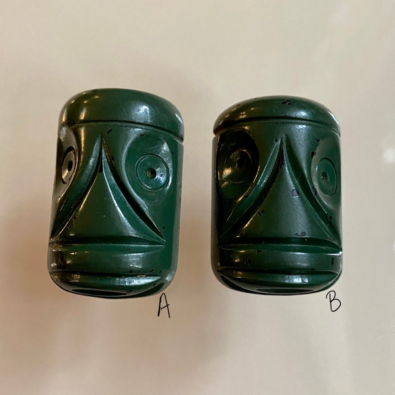 Vintage Carved Bakelite Tiki Button. Chunky. Painted Green. image 0