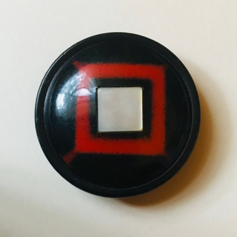 Fantastic Celluloid Button. Red and Black. Pearl OME. image 0