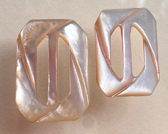 2 Vintage Mother of Pearl Buckles. Carved. 2 Sizes.
