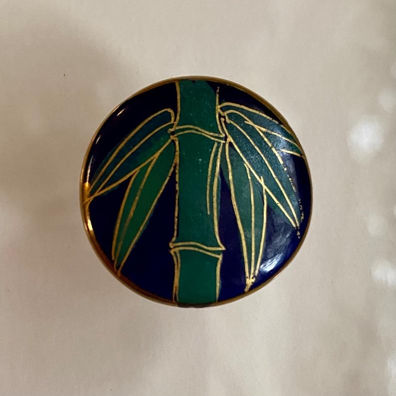 Vintage Cobalt Satsuma Button. Bamboo. image 0