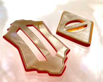 2 Vintage Celluloid Buckles. Laminated.