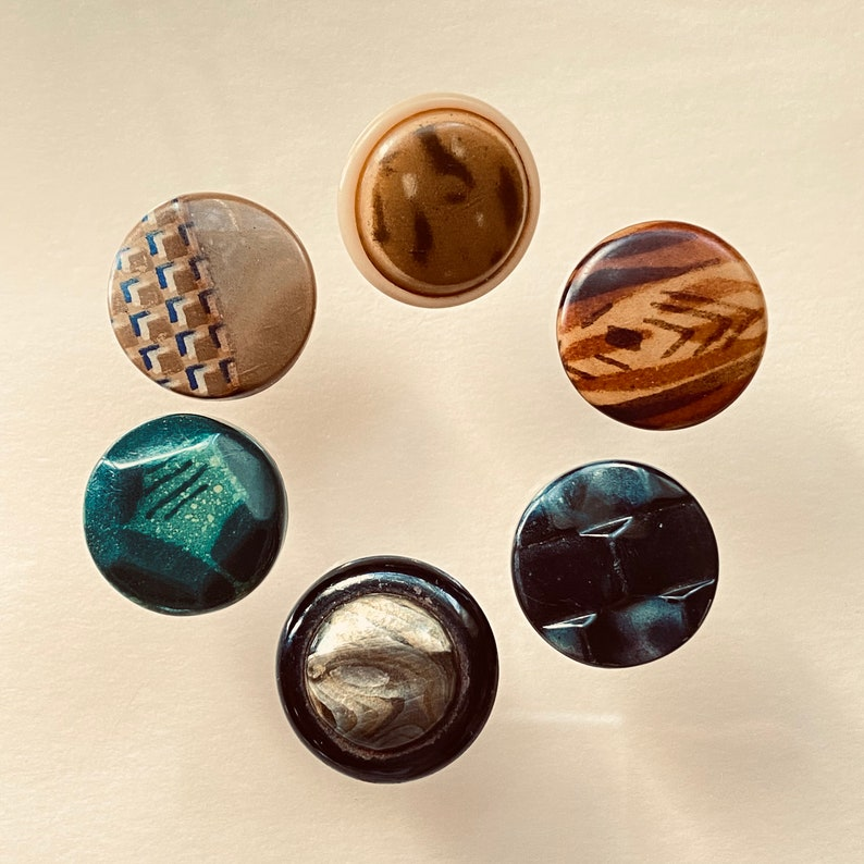 Celluloid Buttons. Set of 6. Small Collection. No 2 image 0