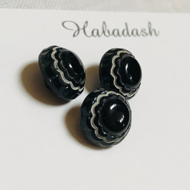 Vintage Black & White Glass Buttons. Czechoslovakia. image 0