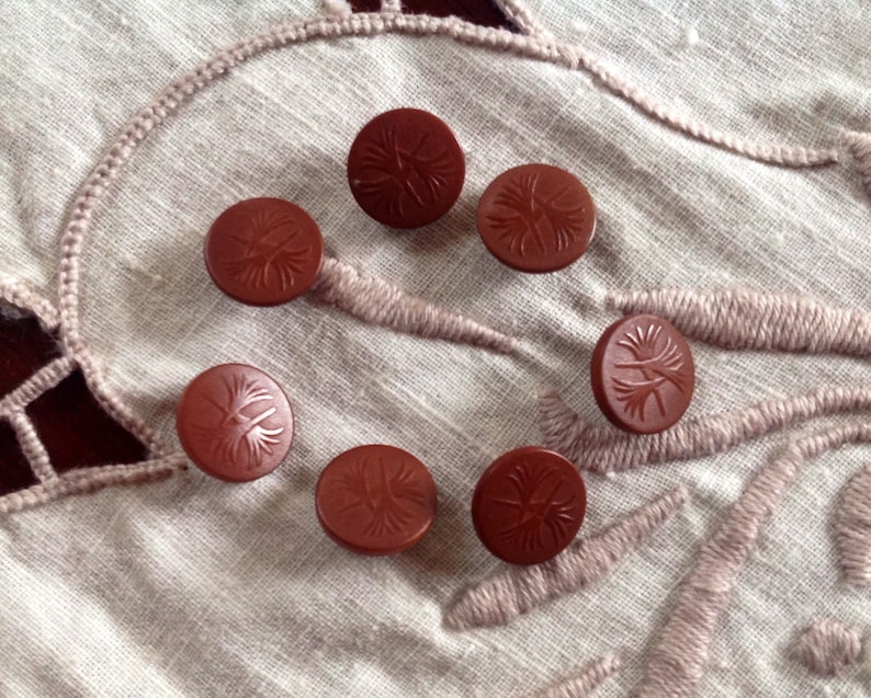 7 Vintage Vegetable Ivory Buttons. Tagua Nut. Chocolate Milk. image 0