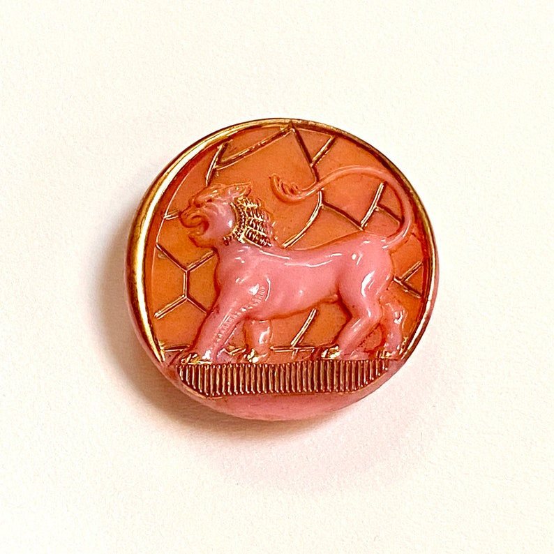 Egyptian Lion Glass Button. Pink. Orange. Gold Lustre. image 0