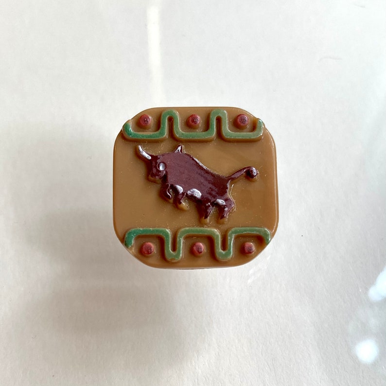 Vintage Glass Button. Hand Painted. Bull. El Toro. image 0