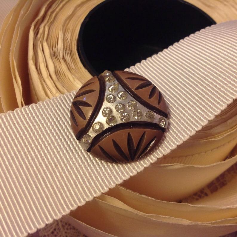 Fabulous Celluloid Button. Paste. Triad. Painted. image 0