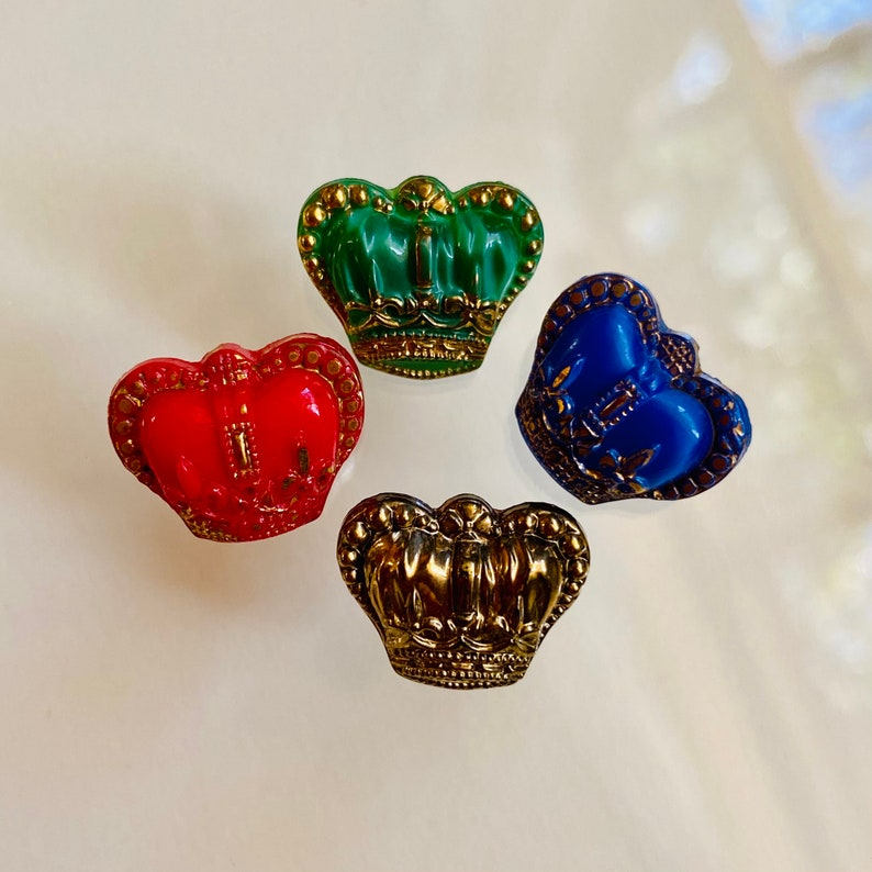 Realistic Glass Coronation Crown. Red. Blue. Green. Gold. image 0