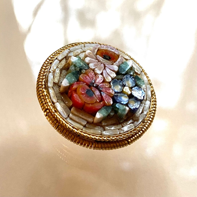 Vintage Mosaic Flower Button. Made in Italy. image 0