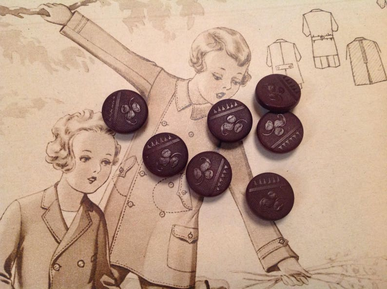 Set of 7 Vintage Vegetable Ivory Buttons. Tagua Nut. Stylish. image 0