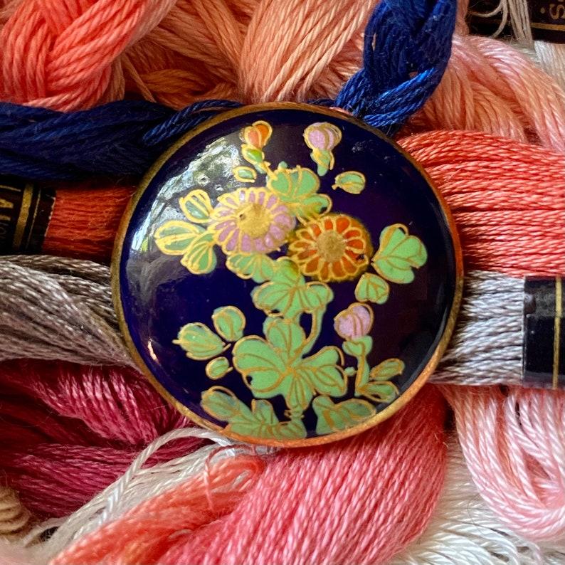 Vintage Japanese Satsuma Buttons. Floral. Cobalt. image 0