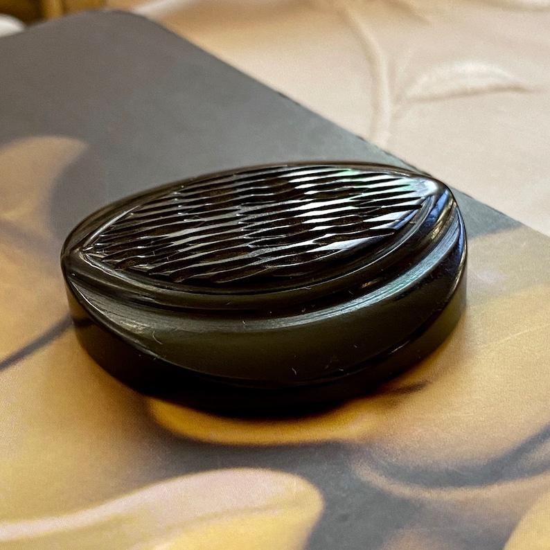 Carved Black Bakelite Coat Button. Deco. Large Size. image 0