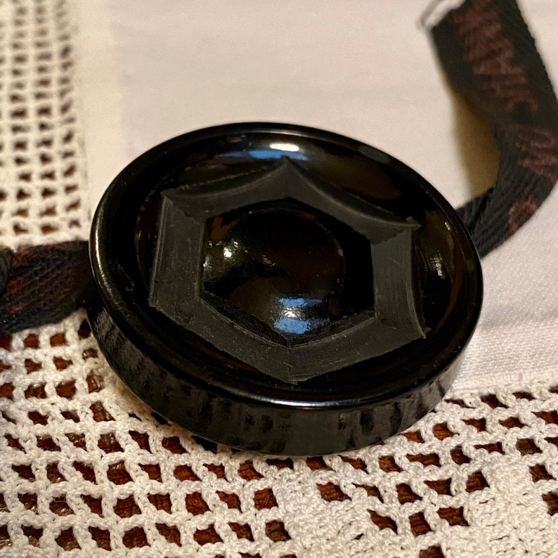 Carved Licorice Black Bakelite Coat Button. Deco. Nice Size. image 0