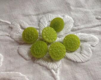Cute Green Glass Buttons.  Set of 6.