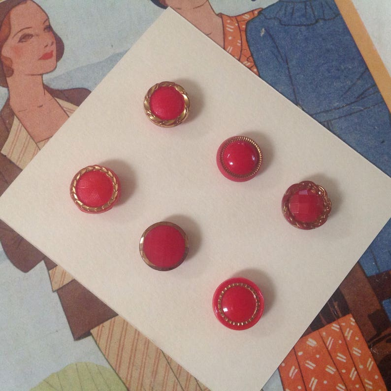 Vintage Glass Button Collection. Red. Small. Gold Lustre. image 0