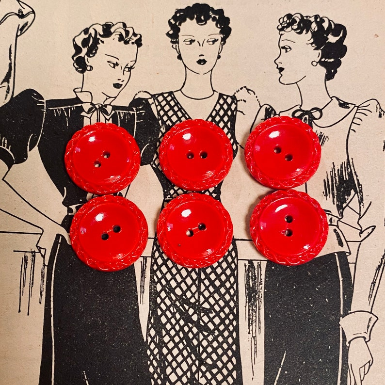 Set of 6 Vintage Glass Buttons. Sew Through. Pillar Box Red. image 0