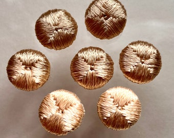 Antique French Rayon Silk Woven Buttons. Pale Gold.