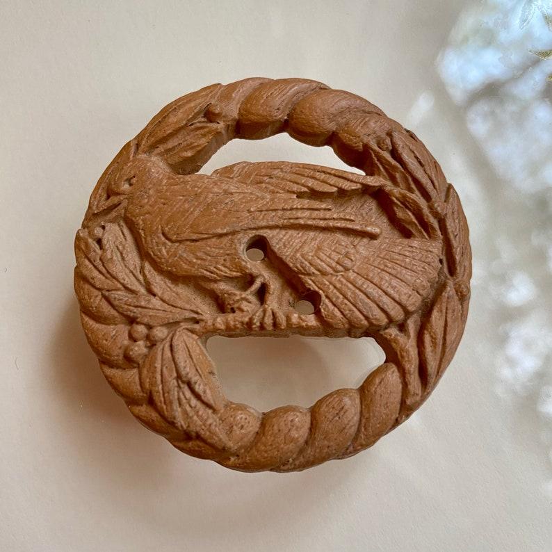 Vintage Burwood Button. Bird. Berries. 1930's. Sirocco. image 0