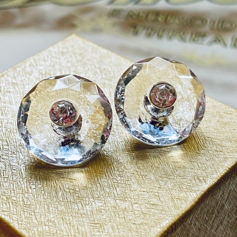 Pair of Beautiful Facetted Crystal Clear Glass with Paste. image 0