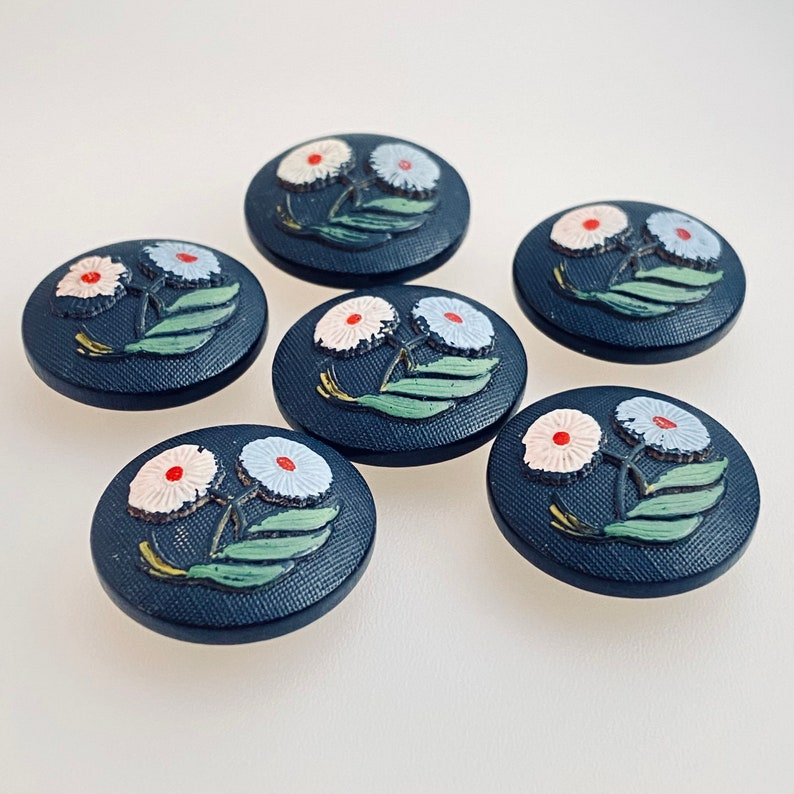 Set of 6 Vintage Hand Painted Wood Buttons. Floral. image 0