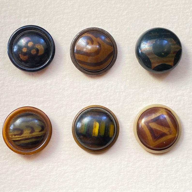 Celluloid Buttons. Set of 6. Small Collection. No 1 image 0