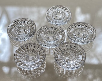 Set of 6 Vintage French Clear Glass Buttons. Sew Through.