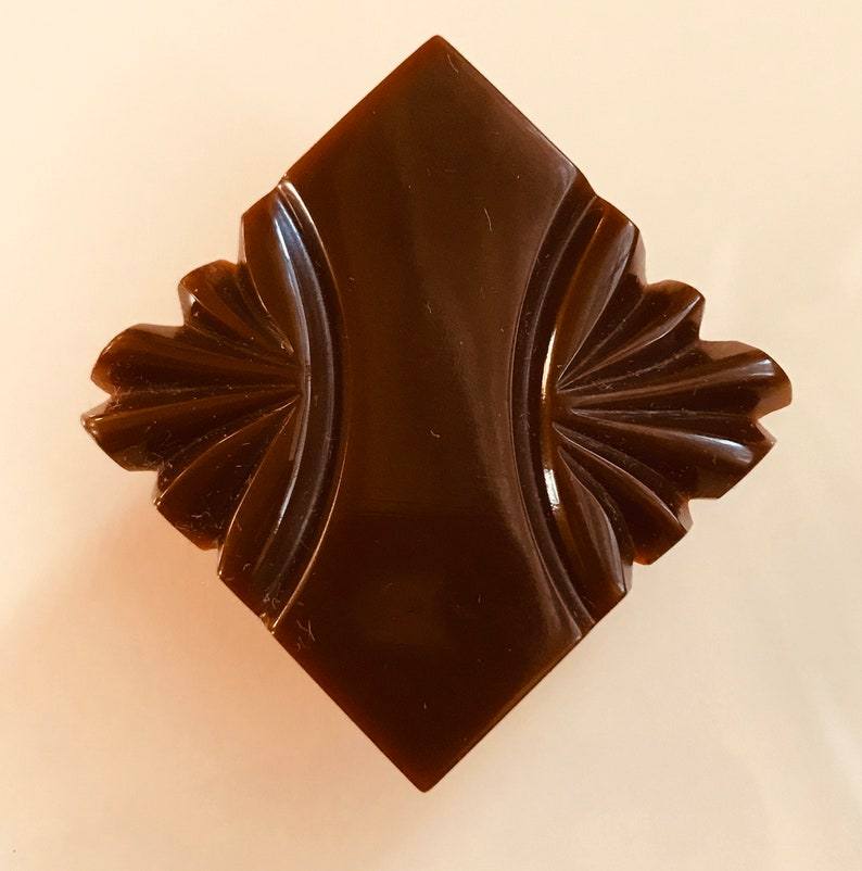 Vintage Bakelite Button. Carved. Square. Chocolate. image 0
