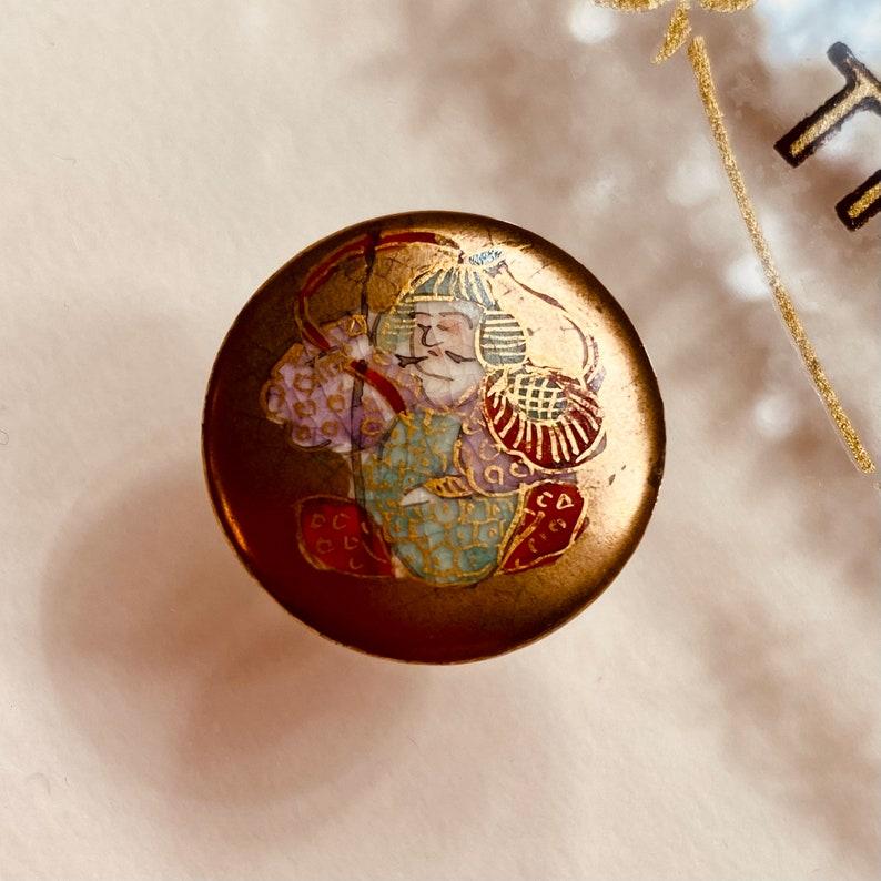 Vintage Satsuma Button.  Bishamonten. Hand painted. image 0