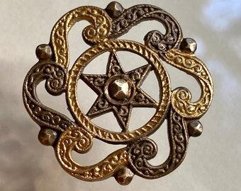 Antique Brass Button. 6 Pointed Star.