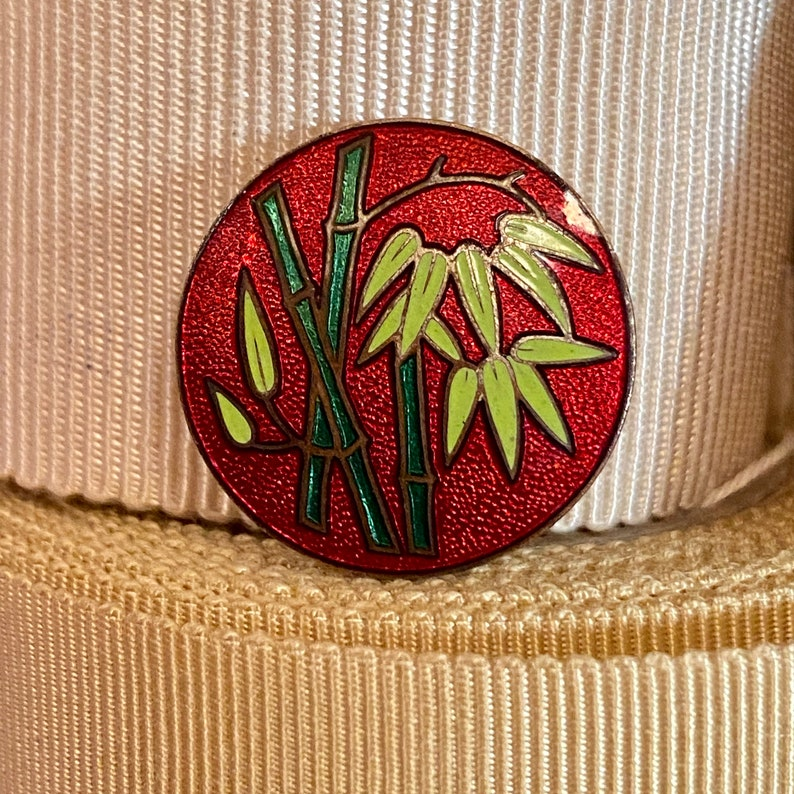 Vintage Cloisonne Button. Red. Japan.Bamboo. image 0
