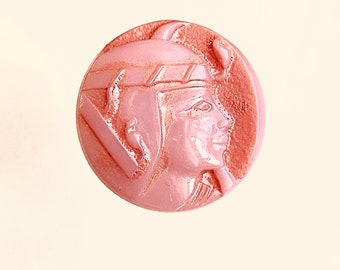 Egyptian Head Glass Button. Pink and Orange. Pharaoh.