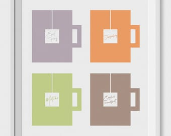 Tea prints, 4 types of tea, tea lover gift, printable wall decor, geometric printable, kitchen print, tea lover wall art, gift for tea lover