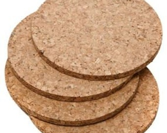 """100 blank 4"""" cork coasters for imprint or laser engraving - round or square"""