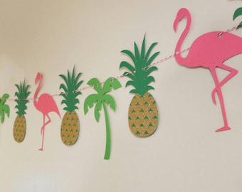 Luau party banner, flamingo banner, Hawaiian luau, Hawaiian party, pineapple party, pig roast, tiki party,  tropical party, tropical wedding