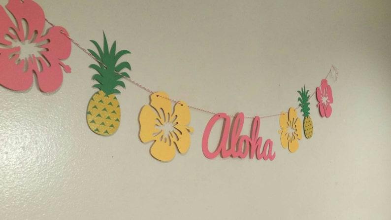 Luau party banner aloha banner Hawaiian luau Hawaiian image 1