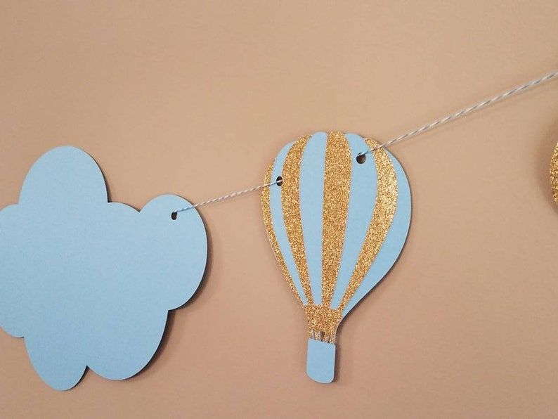 cloud bunting shower garland hot air balloon baby shower cloud banner places you/'ll go birthday cloud party decorations