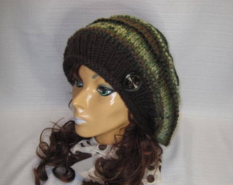 Oversized Beret, Slouchy Hat, Slouchy Beret, Slouchy Chunky Hat, Women's Slouchy Hat, Chunky Hat, Slouchy Hat for Her, Beret, Camo Green