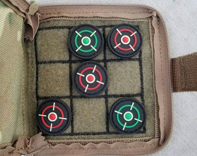 "Featured listing image: Tic Tactical Toe - Pocket Game - Multicam - 4""x4"" - with Reticle patches"
