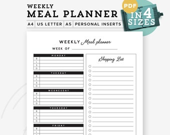 Meal Planner Printable, Menu planner, Weekly meal plan with Grocery List A5 refill A4/Letter, Grocery List Personal Inserts INSTANT Download