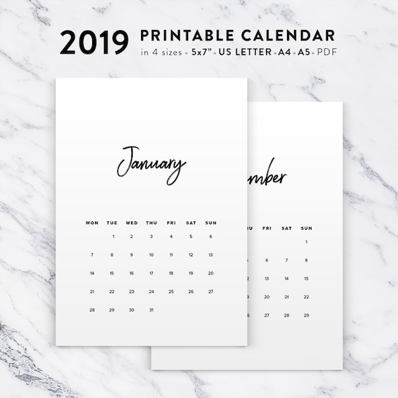 Minimalist Calendar 2019 Printable 2019 Calendar Black And Etsy